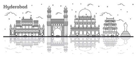 Outline Hyderabad India City Skyline with Historical Buildings and Reflections Isolated on White. Vector Illustration. Hyderabad Cityscape with Landmarks.