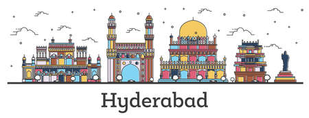 Outline Hyderabad India City Skyline with Color Buildings Isolated on White. Vector Illustration. Hyderabad Cityscape with Landmarks.