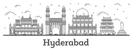 Outline Hyderabad India City Skyline with Historical Buildings Isolated on White. Vector Illustration. Hyderabad Cityscape with Landmarks. 일러스트