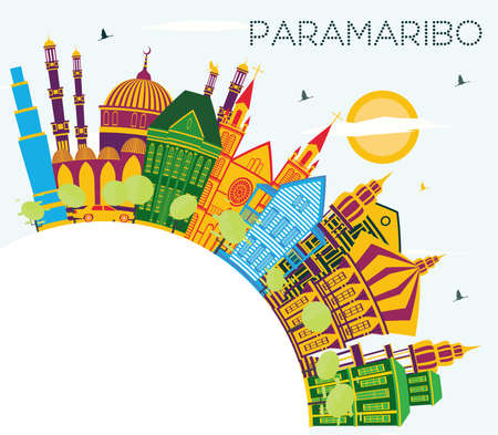 Paramaribo Suriname City Skyline with Color Buildings, Blue Sky and Copy Space. Vector Illustration. Tourism Concept with Modern Architecture. Paramaribo Cityscape with Landmarks.