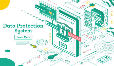 Data Protection System Isometric. Cyber Security and Privacy. Traffic Encryption. VPN. Vector Illustration.