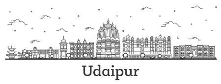 Outline Udaipur India City Skyline with Historical Buildings Isolated on White. Vector Illustration. Udaipur Cityscape with Landmarks.