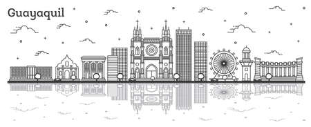 Outline Guayaquil Ecuador City Skyline with Historical Buildings and Reflections Isolated on White. Vector Illustration. Guayaquil Cityscape with Landmarks.