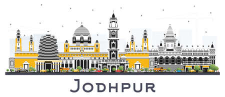 Jodhpur India City Skyline with Color Buildings Isolated on White. Vector Illustration. Business Travel and Concept with Historic Architecture. Jodhpur Cityscape with Landmarks. 일러스트