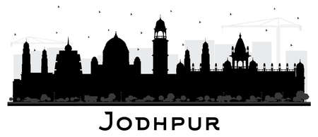 Jodhpur India City Skyline Silhouette with Black Buildings Isolated on White. Vector Illustration. Business Travel and Concept with Historic Architecture. Jodhpur Cityscape with Landmarks. 일러스트