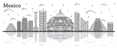 Outline Mexico City Skyline with Historical Buildings and Reflections Isolated on White. Vector Illustration. Mexico Cityscape with Landmarks. Vektorové ilustrace