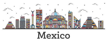 Outline Mexico City Skyline with Color Buildings Isolated on White. Vector Illustration. Mexico Cityscape with Landmarks. Vectores