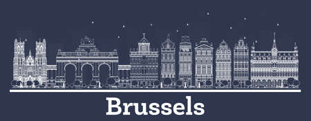 Outline Brussels Belgium City Skyline with White Buildings. Vector Illustration. Business Travel and Concept with Historic Architecture. Brussels Cityscape with Landmarks. Иллюстрация
