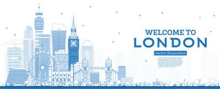 Esquema Bienvenido al horizonte de Londres Inglaterra con edificios azules. Ilustración de vector. Concepto de turismo y viajes de negocios con arquitectura moderna. Paisaje urbano de Londres con hitos.