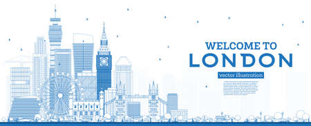 Outline Welcome to London England Skyline with Blue Buildings. Vector Illustration. Business Travel and Tourism Concept with Modern Architecture. London Cityscape with Landmarks.