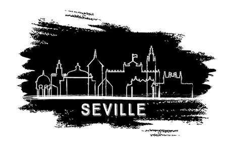 Seville Spain City Skyline Silhouette. Hand Drawn Sketch. Vector Illustration. Business Travel and Tourism Concept with Historic Architecture. Seville Cityscape with Landmarks.