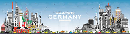 Welcome to Germany Skyline with Gray Buildings and Blue Sky. Vector Illustration. Business Travel and Tourism Concept with Modern Architecture. Germany Cityscape with Landmarks.