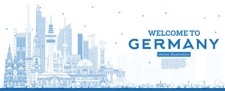 Outline Welcome to Germany Skyline with Blue Buildings. Vector Illustration. Business Travel and Tourism Concept with Modern Architecture. Germany Cityscape with Landmarks. Çizim