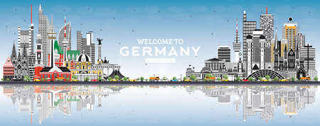 Welcome to Germany Skyline with Gray Buildings, Blue Sky and Reflections. Vector Illustration. Business Travel and Tourism Concept with Modern Architecture. Germany Cityscape with Landmarks.