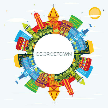 Georgetown Guyana City Skyline with Color Buildings, Blue Sky and Copy Space. Vector Illustration. Tourism Concept with Modern Architecture. Georgetown Cityscape with Landmarks