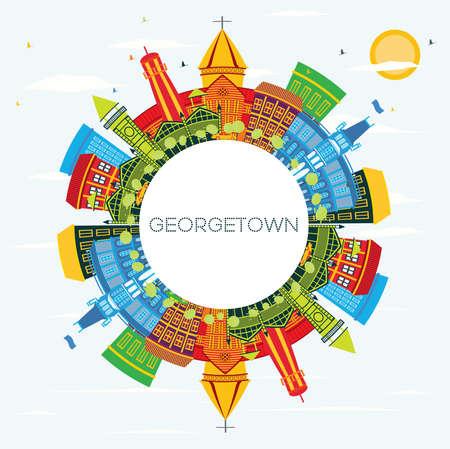 Panoramę miasta Georgetown Gujany z kolorowymi budynkami, błękitnym niebem i przestrzenią do kopiowania. Ilustracja wektorowa. Koncepcja turystyki z nowoczesną architekturą. Gród Georgetown z atrakcjami