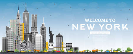Welcome to New York USA Skyline with Gray Buildings and Blue Sky. Vector Illustration. Business Travel and Tourism Concept with Modern Architecture. New York Cityscape with Landmarks. Vettoriali