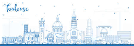 Outline Toulouse France City Skyline with Blue Buildings. Vector Illustration. Business Travel and Concept with Historic Architecture. Toulouse Cityscape with Landmarks.