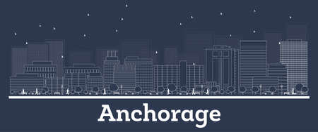 Outline Anchorage Alaska City Skyline with White Buildings. Vector Illustration. Business Travel and Concept with Modern Architecture. Anchorage Cityscape with Landmarks Ilustrace