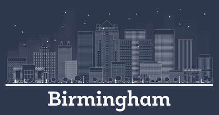 Outline Birmingham Alabama City Skyline with White Buildings. Vector Illustration. Business Travel and Concept with Modern Architecture. Birmingham Cityscape with Landmarks Stock Illustratie
