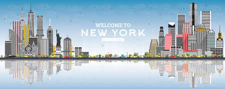 Welcome to New York USA Skyline with Gray Buildings, Blue Sky and Reflections. Vector Illustration. Travel and Tourism Concept with Modern Architecture. New York Cityscape with Landmarks. Ilustração