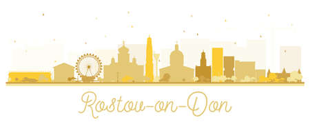 Rostov-on-Don Russia City Skyline Silhouette with Golden Buildings Isolated on White. Vector Illustration. Tourism Concept with Modern Architecture. Rostov-on-Don Cityscape with Landmarks.