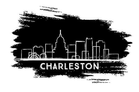 Charleston West Virginia City Skyline Silhouette. Hand Drawn Sketch. Vector Illustration. Business Travel and Tourism Concept with Historic Architecture. Charleston Cityscape with Landmarks.