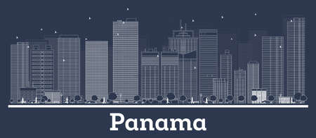 Outline Panama City Skyline with White Buildings. Vector Illustration. Business Travel and Concept with Modern Architecture. Panama Cityscape with Landmarks.  イラスト・ベクター素材