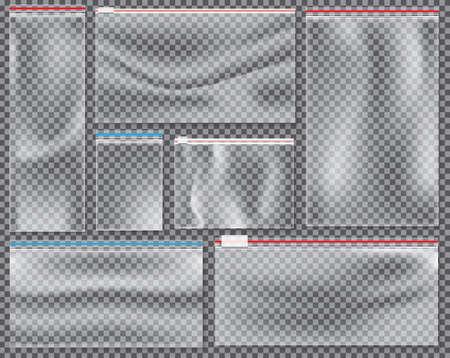 Transparente Nylontasche mit Schloss oder Reißverschluss. Vektor-Illustration. Satz von isolierten versiegelten Polyethylenpackungen. Vektorgrafik