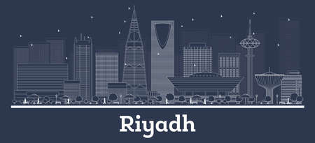 Outline Riyadh Saudi Arabia City Skyline with White Buildings. Vector Illustration. Business Travel and Concept with Modern Architecture. Riyadh Cityscape with Landmarks. Illustration