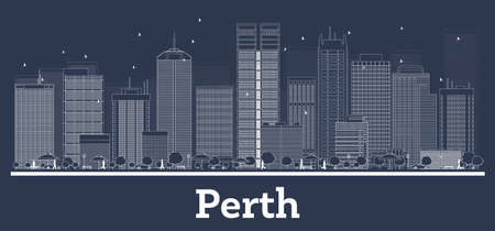 Outline Perth Australia City Skyline with White Buildings. Vector Illustration. Business Travel and Concept with Modern Architecture. Perth Cityscape with Landmarks.