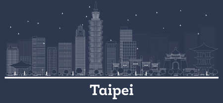 Outline Taipei Taiwan Republic City Skyline with White Buildings. Vector Illustration. Business Travel and Concept with Modern Architecture. Taipei Cityscape with Landmarks. Stock Illustratie