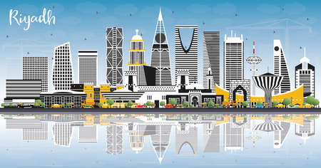 Riyadh Saudi Arabia City Skyline with Color Buildings, Blue Sky and Reflections. Vector Illustration. Business Travel and Concept with Modern Architecture. Riyadh Cityscape with Landmarks.