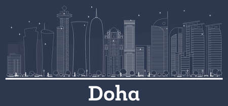 Outline Doha Qatar City Skyline with White Buildings. Vector Illustration. Business Travel and Concept with Modern Architecture. Doha Cityscape with Landmarks.