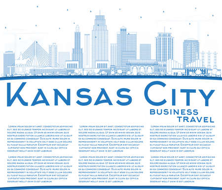 Outline Kansas City Missouri Skyline with Blue Buildings and Copy Space. Vector Illustration. Business Travel and Tourism Concept with Modern Architecture. Kansas City Cityscape with Landmarks.