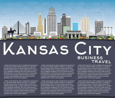 Kansas City Missouri Skyline with Color Buildings, Blue Sky and Copy Space. Vector Illustration. Business and Tourism Concept with Modern Architecture. Kansas City Cityscape with Landmarks. Ilustração