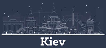 Outline Kiev Ukraine City Skyline with White Buildings. Vector Illustration. Business Travel and Concept with Modern Architecture. Kiev Cityscape with Landmarks.