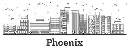 Outline Phoenix Arizona City Skyline with Modern Buildings Isolated on White. Vector Illustration. Phoenix USA Cityscape with Landmarks.