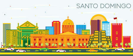 Santo Domingo Dominican Republic Skyline with Color Buildings and Blue Sky. Vector Illustration. Tourism Concept with Modern Architecture. Santo Domingo Cityscape with Landmarks.