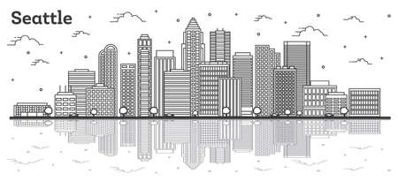 Outline Seattle Washington City Skyline with Modern Buildings and Reflections Isolated on White. Vector Illustration. Seattle USA Cityscape with Landmarks.