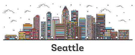 Outline Seattle Washington City Skyline with Color Buildings Isolated on White. Vector Illustration. Seattle USA Cityscape with Landmarks. Vector Illustration