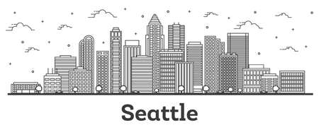 Outline Seattle Washington City Skyline with Modern Buildings Isolated on White. Vector Illustration. Seattle USA Cityscape with Landmarks.