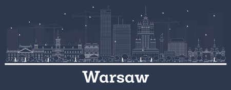 Orizzonte di contorno Varsavia Polonia città con edifici bianchi. Illustrazione di vettore. Viaggi d'affari e concetto con architettura moderna. Paesaggio urbano di Varsavia con punti di riferimento.