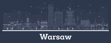 Outline Warsaw Poland City Skyline with White Buildings. Vector Illustration. Business Travel and Concept with Modern Architecture. Warsaw Cityscape with Landmarks.