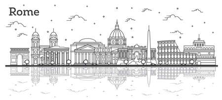 Décrire les toits de la ville de Rome Italie avec des bâtiments historiques et des réflexions isolées sur blanc. Illustration vectorielle. Paysage urbain de Rome avec des points de repère.