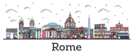 Outline Rome Italy City Skyline with Color Buildings Isolated on White. Vector Illustration. Rome Cityscape with Landmarks. Ilustracja