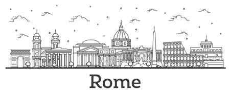 Décrire les toits de la ville de Rome Italie avec des bâtiments historiques isolés sur blanc. Illustration vectorielle. Paysage urbain de Rome avec des points de repère. Vecteurs