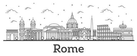 Outline Rome Italy City Skyline with Historic Buildings Isolated on White. Vector Illustration. Rome Cityscape with Landmarks.