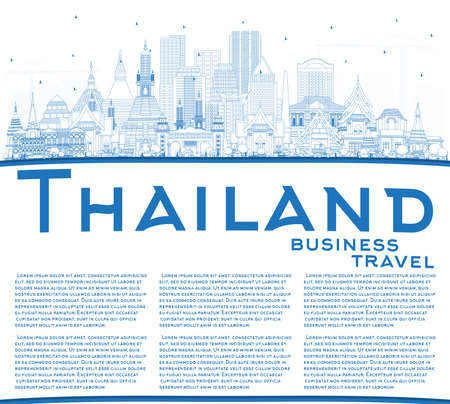 Outline Thailand City Skyline with Blue Buildings and Copy Space. Vector Illustration. Tourism Concept with Historic Architecture. Thailand Cityscape with Landmarks. 일러스트