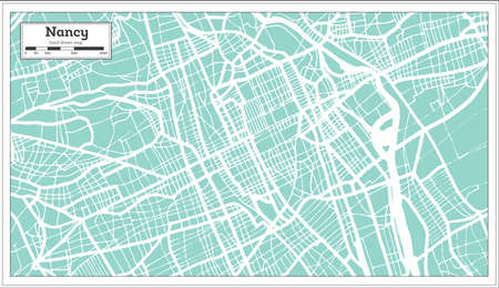 Nancy France City Map in Retro Style. Outline Map. Vector Illustration.